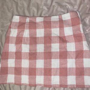 NWOT, F21 pink plaid mini skirt size S
